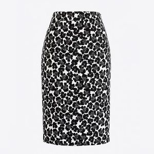 J. Crew Stretch Pencil Skirt Ivory with Poppies